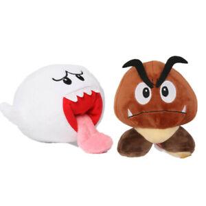 2pcs Super Mario Bros Boo Ghost & Goomba Plush Doll Stuffed Animal Toys Gift
