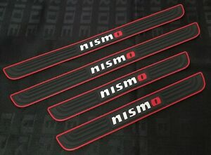 4PCS Nismo Black Rubber Car Door Scuff Sill Cover Panel Step Protector