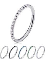 Sleek Titanium Round Crystal Studded Hinged Hoop Earrings Piercings Huggie G23