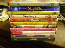 (15) Childrens Girls DVD Lot: Disney  (3) Hello Kitty  Amelie Barbie  Annie Dora