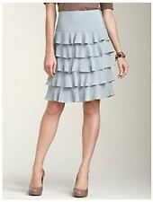 NWT$159 TALBOTS GRAY SILK GEORGETTE LINED RUFFLE TIERED SKIRT Sz10P,12P,14P