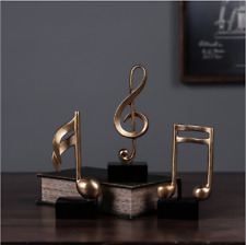 Resin  Musical Notes Sculpture Modern Abstract Statue Home Desktop Decor 3pc