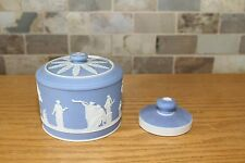 Rare Antique Wedgwood Light Blue Jasper Ware Tobacco Jar with Temper (c.1900)