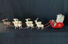 7 Vintage Reindeer Japan with Jewel Eyes Rudolph Wood Sleigh Presents 40� Long