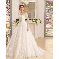 New White/ivory Wedding Dress Bridal Gown Custom Off Shoulder Long Sleeves 2018