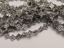 Tibetan Style Rhombus Alloy Beads, Antique Silver, Lead Free 7x4mm, Hole 1mm