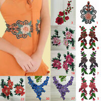 Embroidery Rose Flower Floral Lace Sewing Applique Collar Neckline Applique DIY