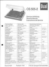 Dual Service Manual für CS 505-2