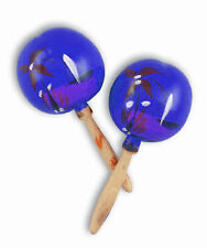 PAIR OF BLUE WOODEN MARACAS PAINTED TROPICAL DECORATION