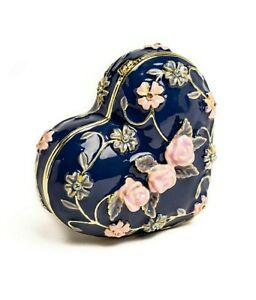 Blue heart trinket box hand made by Keren Kopal & Austrian crystals