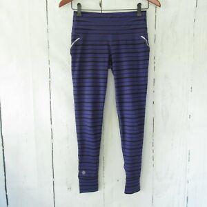 Athleta Relay Leggings XS High Rise Purple Stripe Jogger Reflective Pocket