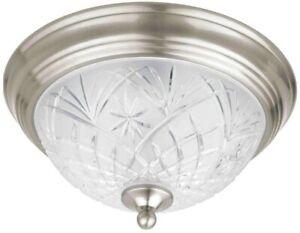 NEW!! HAMPTON BAY 2-Light Flush-Mount Satin Nickel Ceiling Fixture