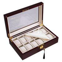 12 Grid Wooden Watch Display Case Box Jewelry Storage Organizer Collection Lock