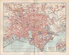Landkarte city map 1906: Stadtplan MARSEILLE. Süd-Frankreich france Europa