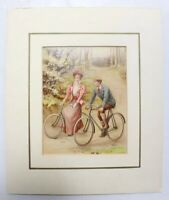 Mounted Antique Print Of Couple On Bicycles 'Travelling Companions'