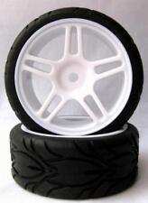 Coppia Ruote Nere Turismo con cerchio a Stella Bianco 63mmx26mm Per Auto 1:10