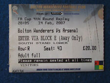 Bolton Wanderers v Arsenal - 14/2/2007 - FA Cup 4th Rd Replay Ticket