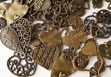 20x Mixed Designs Antique Bronze Heart Charms Pendants (TSC88)