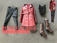 1/6 Women Leather Trench Coat Set RED For Phicen Hot Toys Figure SHIP FROM USA