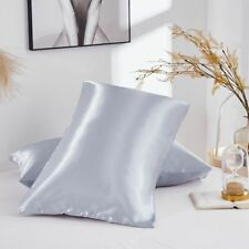 Gray Pure Satin Silk anti-age Pillowcase Luxurious Pillow Case Cover Queen Size