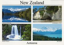 AOTEAROA NEW ZEALAND POSTCARD - CATHEDRAL COVE, WAIAU FALLS, MOUNT COOK NZ PC