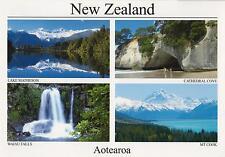 AOTEAROA NEW ZEALAND POSTCARD - CATHEDRAL COVE, WAIAU FALLS, MOUNT COOK NZ PC