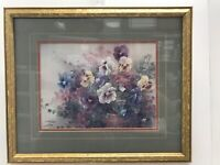 Lena Liu Potted Pansies Lithograph Print Signed Certificate Authenticity Limited