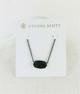 Kendra Scott Elisa Black Drusy Gunmetal Necklace