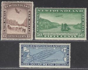 Newfoundland 1931 KGV Unwatermarked Airmail Set Mint SG192-194 cat £85