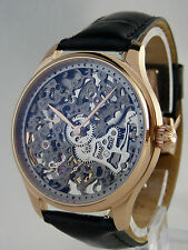 UNIQUE Montre squelette type UNITAS 6498 skeleton watch Skelettuhr Rose Gold Gun