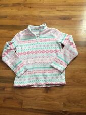 The Childrens Place Fleece Quarter Zip Girl's Size Large 10/12 Pink White Hearts