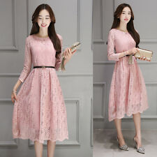Women Party Dress Ladies Elegant Lace Dresses Casual Korean Clothing Charming