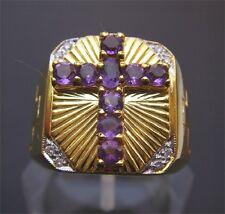 Christian Apostle 18K Gold Amethyst Cross Ring
