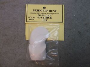 """Bridgers Best Dry Shooting Patches 60-69 Caliber .010"""" Thick Stock # 6010"""
