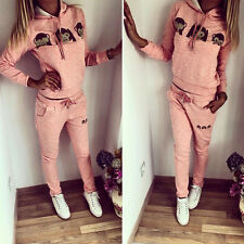2Pcs Women's Tracksuit Hoodie Sweatshirt Tops Pants Set Casual Sports Sweat Suit
