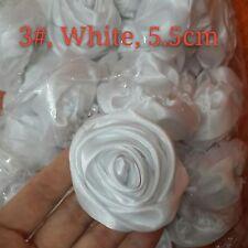 "12PC White 50mm Satin Ribbon Rose Flowers DIY Wedding Bridal Bouquet 2"""