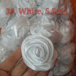 24PC White 50mm Satin Ribbon Rose Flowers DIY Wedding Bridal Bouquet 2""