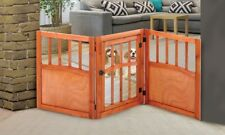 Sturdy Wooden Freestanding Wide Pet Gate Light Weight Dog Gate With Door