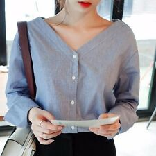 New Korean Fashion Women Slim V Neck Button Shirt Striped Long Sleeve Blouse Top