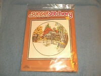 VINTAGE SUNSET STITCHERY FALL MILL POND CREWEL EMBROIDERY KIT # 2473 - SEALED