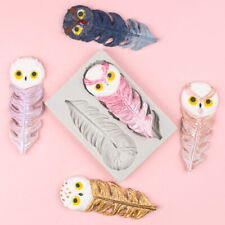 Owl Feather  Silicone Fondant Mold Chocolate Cake Bakeware Border Decor Mould 3D
