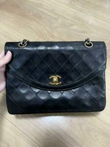 Chanel Quilted Turn Lock Shoulder Bag Double Chain Vintage Leather Gold Hardware