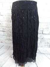 "M&S lined skirt 12 black floaty sequin sparkly party waist 32"" length 32.5"""