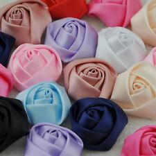 20 pcs Big Satin Ribbon Rose Flower DIY Craft Wedding Appliques Lots A07
