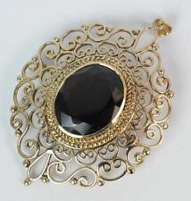 Large Solid 9ct Gold & Garnet Pierced Design Pendant Brooch P1734