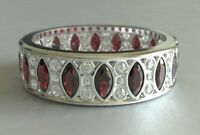 Marquise Cut Womens Vintage Wedding Band Ring Ruby Diamond 14k White Gold Finish