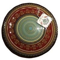 "Glass Platter 13"" Ornate Holiday GOLD TRIM MADE IN TURKEY Anatalia Artisinal"