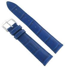 18mm Hirsch Duke Alligator Grain Genuine Leather Matte Royal Blue Watch Band