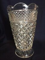 "Wexford Heavy Large Lead Crystal Glass Footed 10 1/2""  Vase By Anchor Hocking"