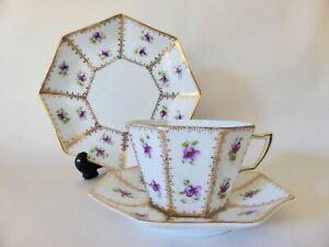 Antique Staffordshire Tea Trio, Violets Tea Cup + Saucer + Plate, Art Nouveau